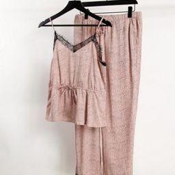 Vero Moda lace trim satin pyjama set in pink abstract print | ASOS (Global)
