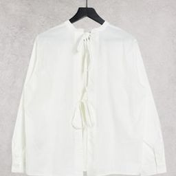 Object shirt with open back tie details in white   ASOS (Global)