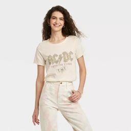 Women's AC/DC Leopard Print Logo Short Sleeve Graphic T-Shirt - Off-White | Target