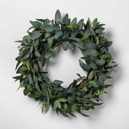 """24"""" Faux Seeded Eucalyptus Wreath - Hearth & Hand™ with Magnolia   Target"""