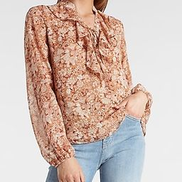 Floral Lace-Up Ruffle Top   Express