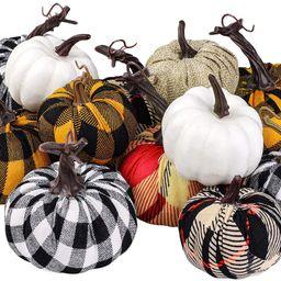 Elcoho 12 Pack Harvest Fabric Artificial Pumpkins Fall Festival Burlap Pumpkins Decoration for Fa... | Amazon (US)