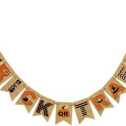 AVOIN Trick or Treat Banner No DIY Required Chevron Polka Dot Spider Web Bat Pumpkin Witch Hat, R... | Amazon (US)