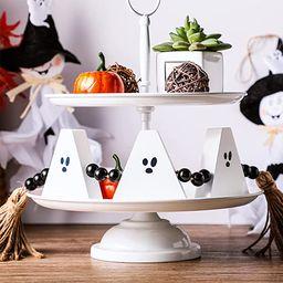 Blulu Halloween Wood Bead Garland Halloween Ghost Garland Fall Wood Bead Tassel Halloween Rustic ... | Amazon (US)