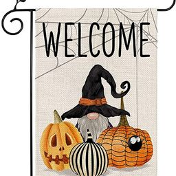 CROWNED BEAUTY Halloween Gnome Welcome Garden Flag Double Sided Vertical 12×18 Inch Spooky Jack ... | Amazon (US)
