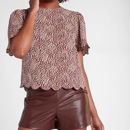 Printed Scalloped Flutter Sleeve Top   Express
