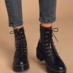 Leona Black Vintage Smooth Leather Lace-Up Platform Boots | Lulus (US)