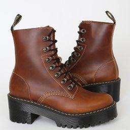Leona Butterscotch Orleans Leather Lace-Up Platform Boots   Lulus (US)