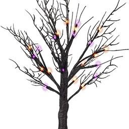 FUNPENY 24LED Lighted Black Birch Spooky Tree, 2FT Halloween Battery Operated Tree Lights with Sp... | Amazon (US)