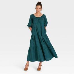 Women's Puff 3/4 Sleeve Tiered Dress - Universal Thread™   Target