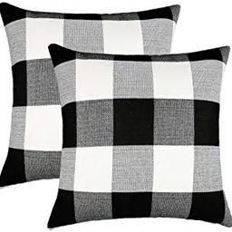 4TH Emotion Set of 2 Farmhouse Buffalo Check Plaid Throw Pillow Covers Cushion Case Polyester Lin...   Amazon (US)