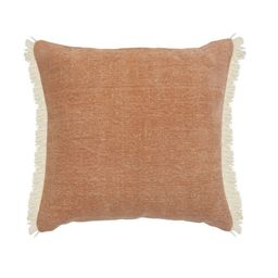 LR Home Caramel Brown 20 in. x 20 in. Coated Fringed Decorative Throw Pillow | Walmart (US)