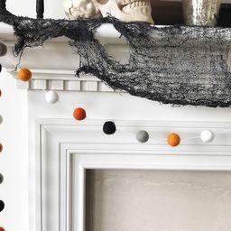 Halloween Garland, Orange Grey and Black Felt Ball Garland, Ghost and Pumpkin Pom Pom Garland, Ha...   Etsy (US)