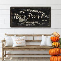 Hocus Pocus Sign | Witch Hocus Pocus | Huge Canvas Art | Broom Witch Decor | Custom Halloween Sig... | Etsy (US)