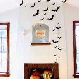 Black Bat Wall Hanging - Halloween Card Stock Cut-outs - 30 Pieces | Etsy (US)