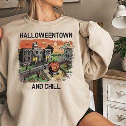 Halloweentown and Chill Crewneck Sweatshirt. Halloweentown Sweatshirt, Pumpkin Sweatshirt, Hallow... | Etsy (US)