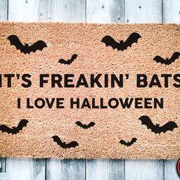 Its Freakin Bats I Love Halloween Door Mat | Funny Meme Doormat | Welcome Mat | Halloween Decor |... | Etsy (US)