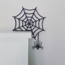 Halloween Door Corner Sign, Spider Web Halloween Decor, Halloween Spider Sign, Fall Decor | Etsy (US)