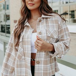 On the Trail Camel Plaid Shacket | Magnolia Boutique