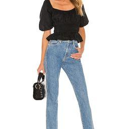 FAITHFULL THE BRAND Kinsley Top in Plain Black from Revolve.com | Revolve Clothing (Global)