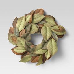"20"" Artificial Magnolia Wreath - Threshold™ | Target"