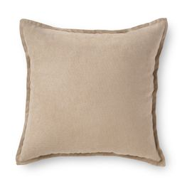 """Mainstays Faux Suede Decorative Square Throw Pillow with Flange, 18"""" x 18"""", Brownstone 