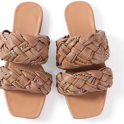 Women Flat Sadals Woven Leather Flip-Flops Pearls Bow Sandals Beach Rivets Rain Jelly Gold Pearls | Amazon (US)