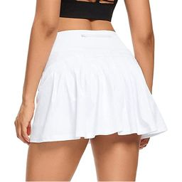 SYOND Women's Athletic Tennis Golf Skirts Mid-Waisted Pleated Shorts With Pocket (White) | Walmart (US)
