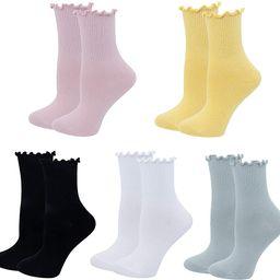 Amazon.com: Bellady Cute Ruffle Socks for Women, Funny Cotton Crew Socks, Frilly Ankle Socks Wome... | Amazon (US)
