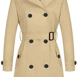 Wantdo Women's Waterproof Double-Breasted Trench Coat Classic Lapel Overcoat Slim Outerwear Coat ...   Amazon (US)
