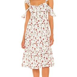 MAJORELLE Angel Midi Dress in Multi Sangria Sun from Revolve.com | Revolve Clothing (Global)