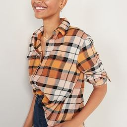 Oversized Plaid Flannel Boyfriend Tunic Shirt for Women | Old Navy (US)