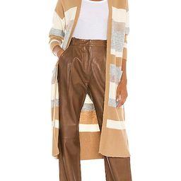 Dakota Long Cardigan in Camel Stripe | Revolve Clothing (Global)