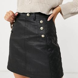 River Island belted quilted faux leather mini skirt in black | ASOS (Global)