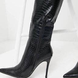Public Desire Wide Fit Aimi knee boots in black croc | ASOS (Global)