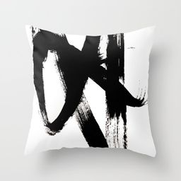 Brushstroke 2 - simple black and white Throw Pillow | Society6