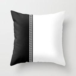 Greek Key 2 - White and Black Throw Pillow | Society6