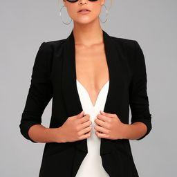 Miss Punctuality Black Lightweight Blazer   Lulus (US)