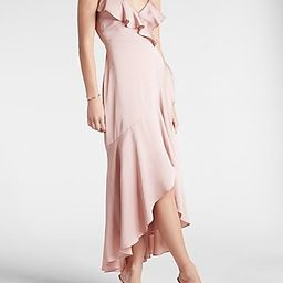 Satin Ruffle Wrap Hi-Lo Maxi Dress | Express