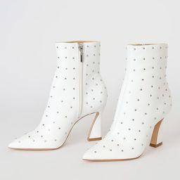 Belisa White Leather Studded Ankle Booties | Lulus (US)