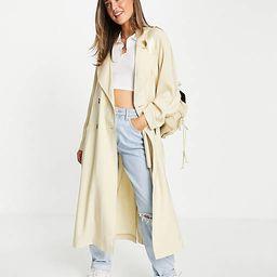ASOS DESIGN oversized trench coat in cream | ASOS (Global)