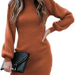 Caracilia Women Turtleneck Long Sleeve Knit Pullover Sweater Bodycon Mini Dress   Amazon (US)