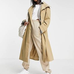 ASOS DESIGN collared luxe trench coat in stone | ASOS (Global)