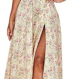 Murfhee Women's Elegant Floral Print Puff Sleeve Ruched A-Line Split Party Long Maxi Dress | Amazon (US)