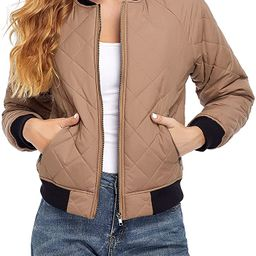 andy & natalie Women's Quilted Jacket Long Sleeve Zip up Raglan Bomber Jacket with Pockets | Amazon (US)