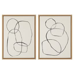 """Kate and Laurel Sylvie Modern Circles and Going in Circles Framed Canvas Art Print, 18"""" x 24"""", by... 
