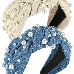 QIANXUAN Cloth Headbands Tie For Women Top Knot Headband With Pearls Denim Headband For Girls Hai... | Amazon (US)