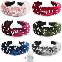 EAONE Pearl Headbands 6 Colors, Knotted Headbands for Women Fashion Turban Headband Hair Bands Wi... | Amazon (US)