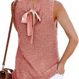 Womens Summer Sleeveless Tunic Top Flowy Sweater Tank Shirts Cute Crewneck Shirt Casual Crochet K... | Amazon (US)