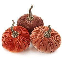 6.25 Inch Large Velvet Pumpkins Set of 3 Includes Bronze Rust Harvest, Handmade Home Decor, Holid...   Amazon (US)